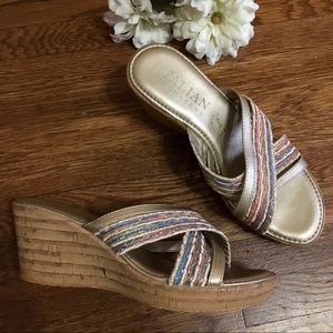 Italian Shoemakers gold pastel wedges sandals 6